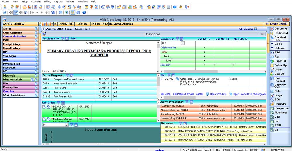 Orthopedic emr dashboard orthopedic emr software 1st for Orthopedic templating software